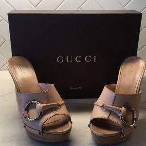 Gucci Horsebit Peep Toe Clogs with Original Box